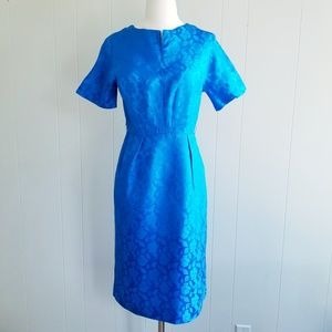 1950s Unlabeled Blue Floral Embossed Wiggle Dress